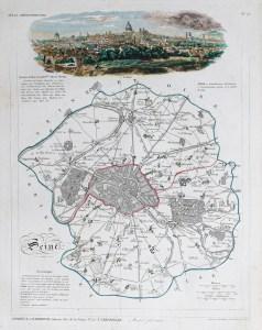 Carte ancienne du département de la Seine