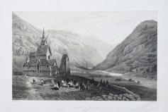 Lithographie ancienne de Borgund