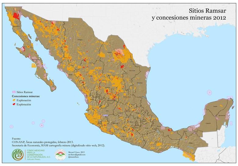 Concesiones mineras y Sitios Ramsar (clic para ver más grande)