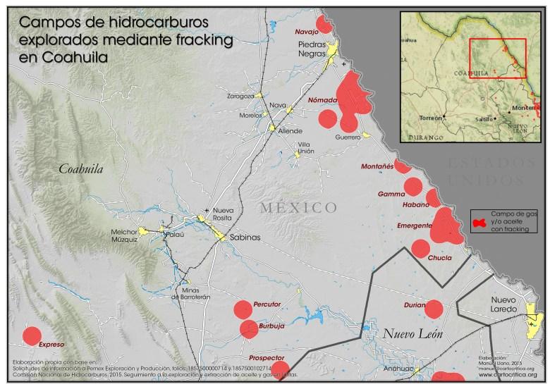 Campos de hidrocarburos explorados mediante fracking en Coahuila