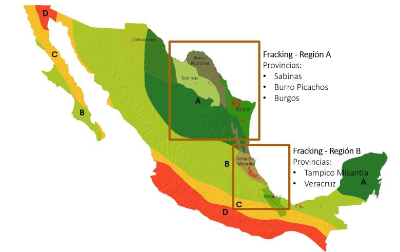Regiones sísmicas e hidrocarburos no convencionales
