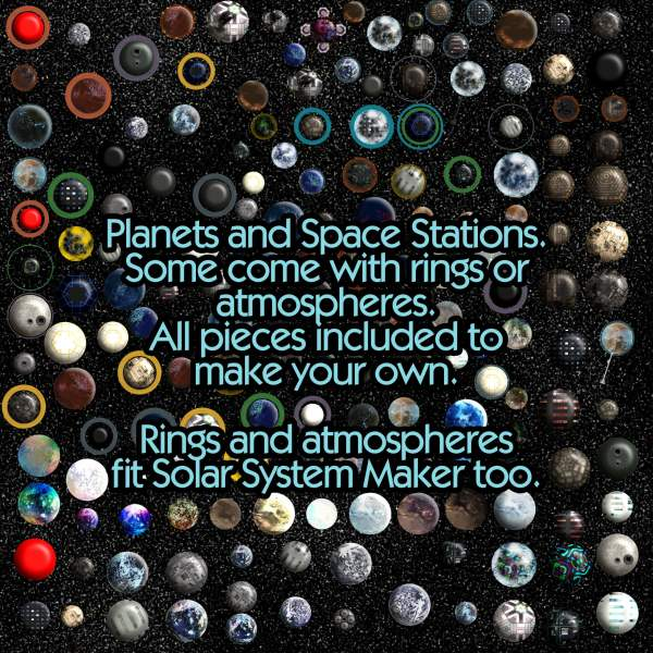 Inhabited Solar System Maker with Technology, Celestial Objects, Starfields planets suns dyson sphere space elevator atmosphere rings add ons seamless star fields sci-fi science fiction scifi map making ki atmosphere planets demo