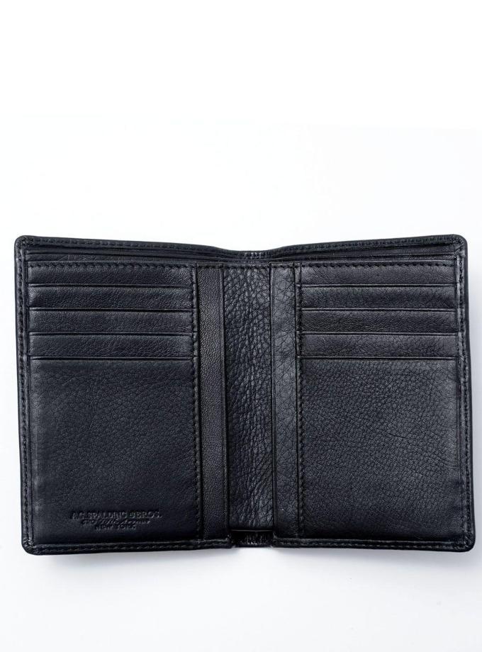 Spalding & Bros - New York - Portafoglio verticale nero - Cartoleria Rossi Mantova