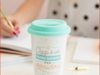 tazza ceramica con tappo ermetico plastica