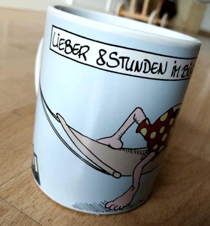 Lustiger Kaffeebecher für Büro