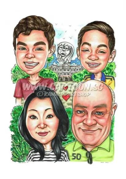 2016-06-28-Caricature-Singapore-family-palm-tree-raffles-hotel-merlion