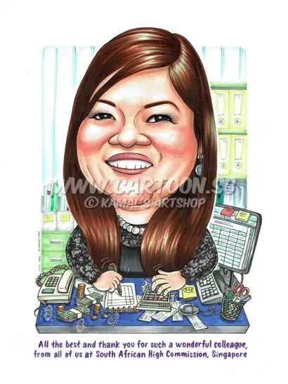 2016-06-29-Caricature-Singapore-office-desk-accountant-money-cheque-calculator