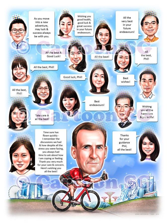 20190228-Caricature-Singapore-digital-group-farewell-moutain-bike