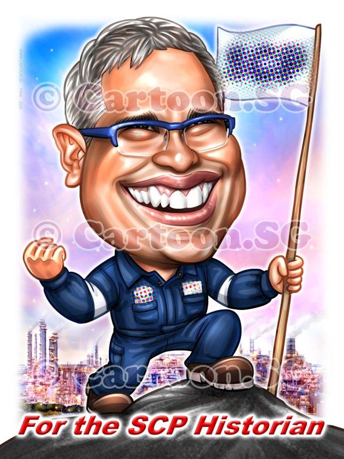 20200206-Caricature-Singapore-digital-climb-hiking-flag-chemical-plant-factories-uniform