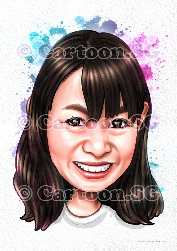 Mugshot lady in bang caricature