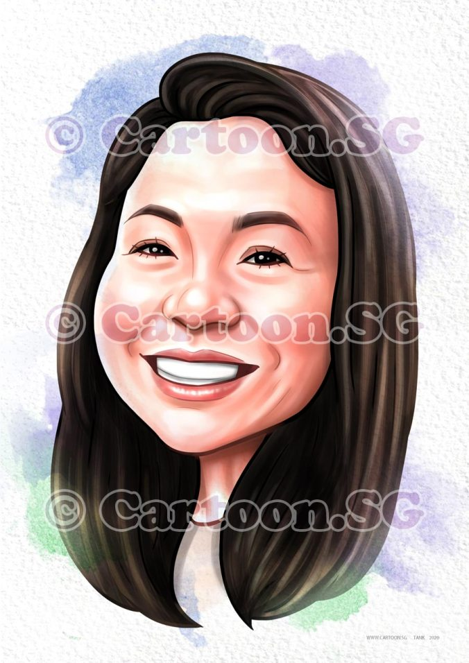 Give the sweet smile cartoon sketch the face