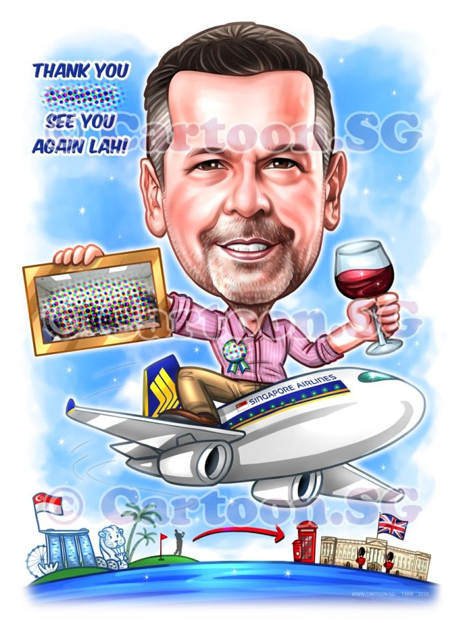 Airline Boss Gift Caricature Appreciation for Wine