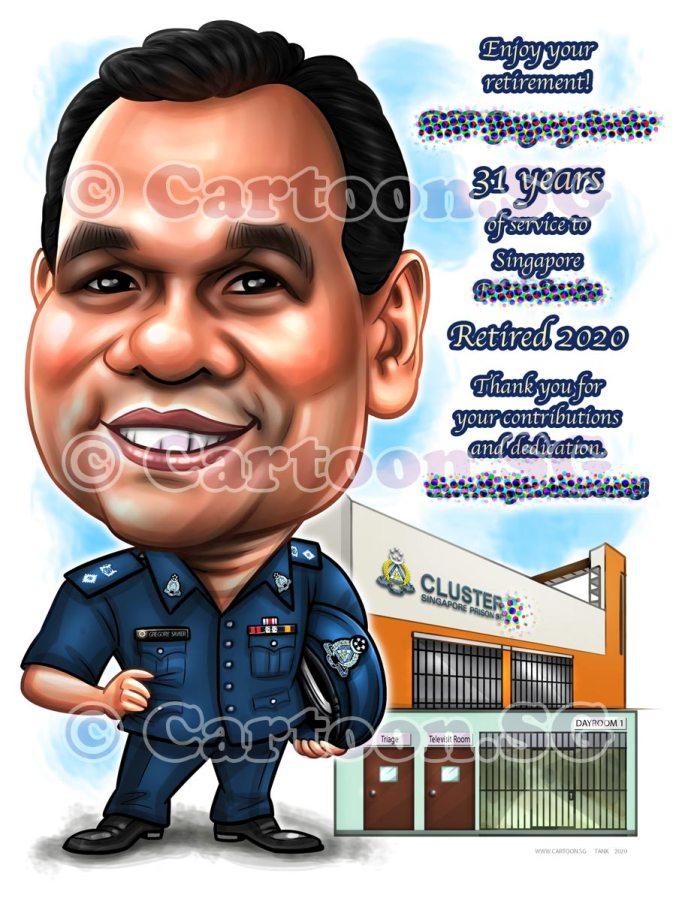 Prison Boss Farewell Gift Cartoon Face Sketch