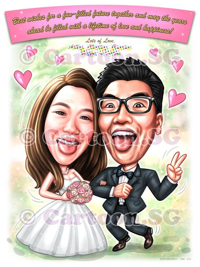 Couple goals wedding caricature memorues