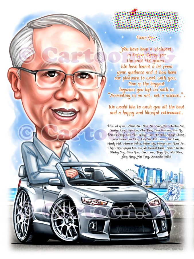 Retirement gift for a head in sports car sketch cartoon