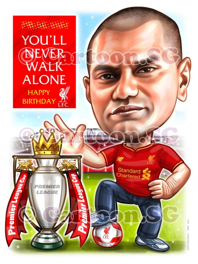 trophy birthday jersey liverpool caricature cartoon