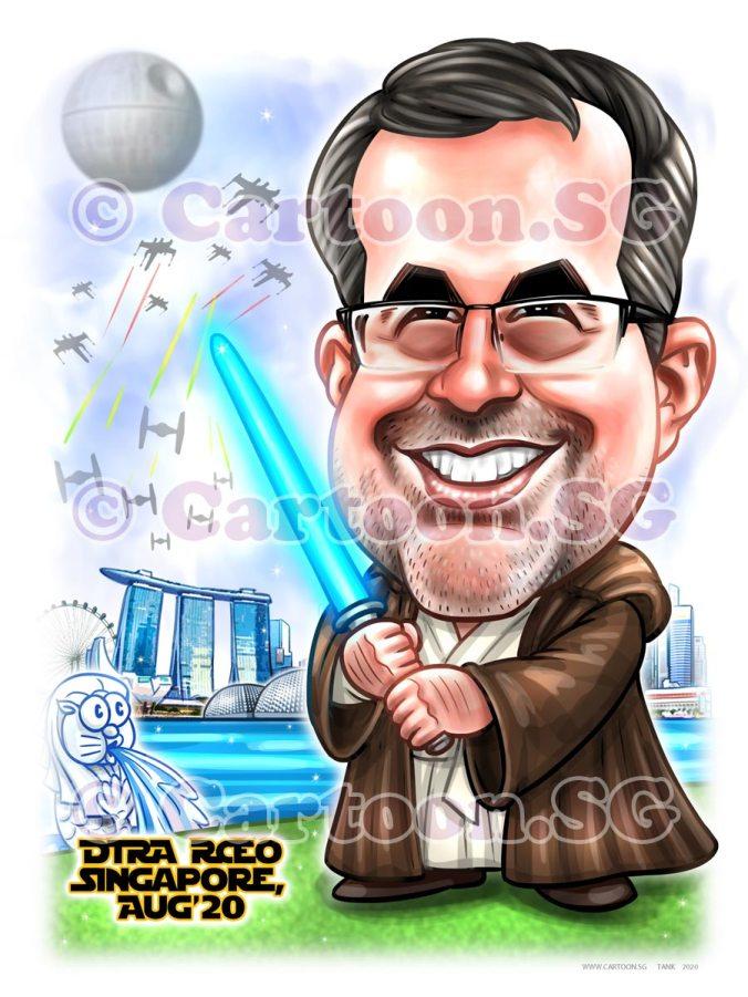 blue light saber star wars singapore landscaper boss cartoon caricature