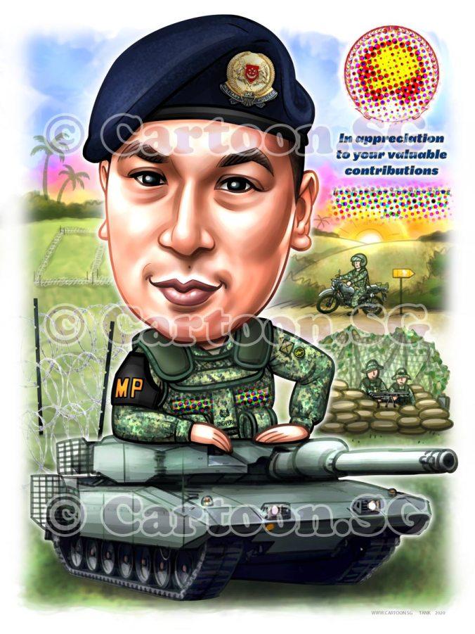 army uniform beret cartoon caricature army tanks