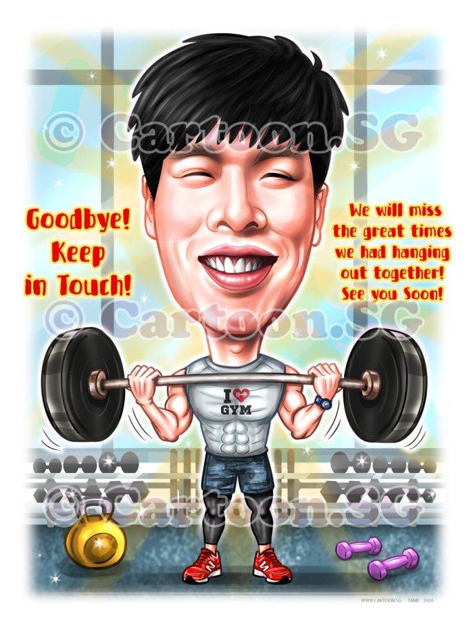 weightlifting gym muscleman farewell gift cartoon caricature