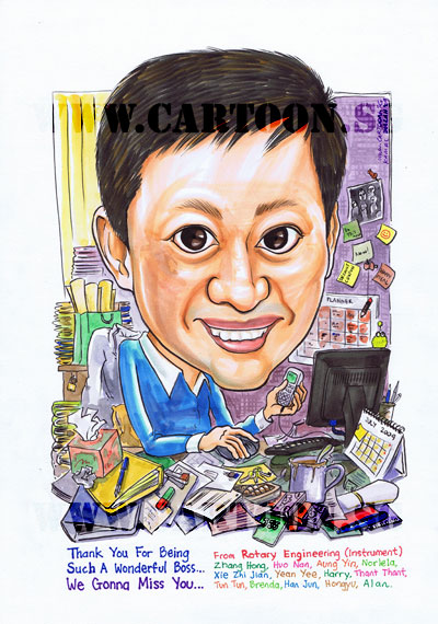 Caricature drawing as Unique gift for boss with messy table