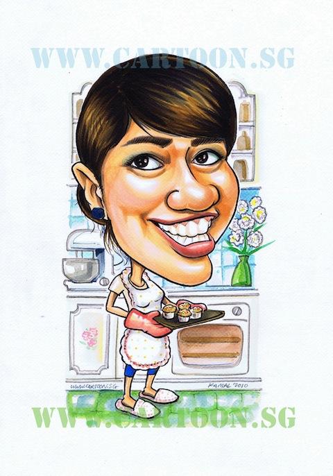 Baking Lady - Gift Caricature