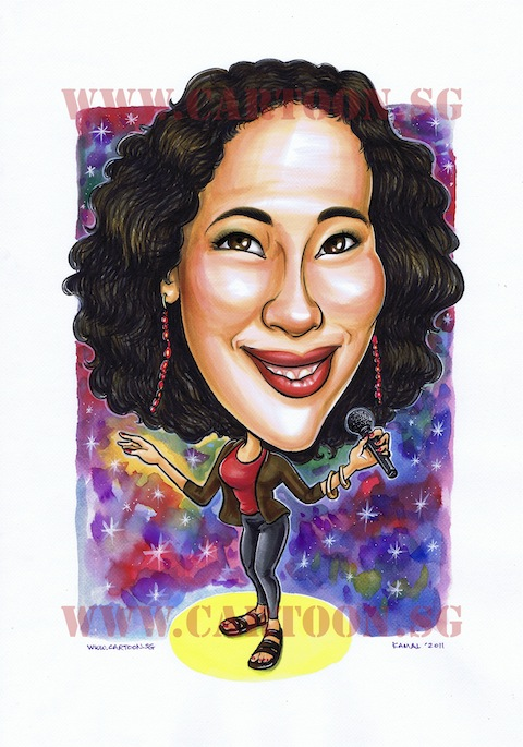 caricature of a lady superstar singer