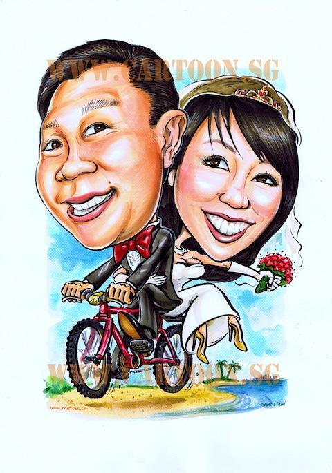 2011-05-24 couple on bicycle wedding caricature