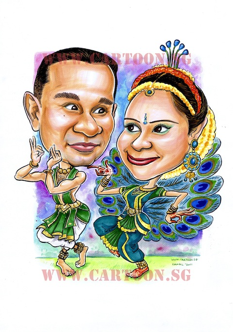 -2011-06-07-Wedding-Caricature-Indian-Peacock-Sari-Traditional-480px