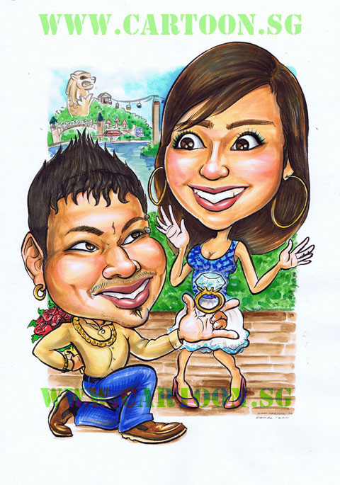 Marriage proposal couple caricature cartoon drawing rings kneel on knees surprised