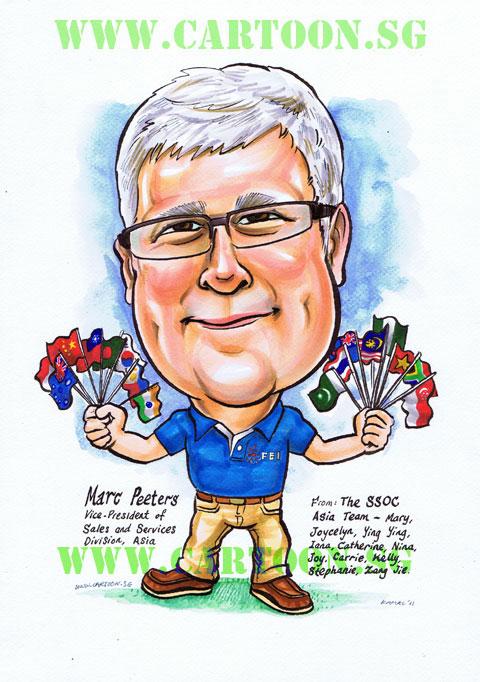 International Finacial Executive Gift Caricature Singapore Artist