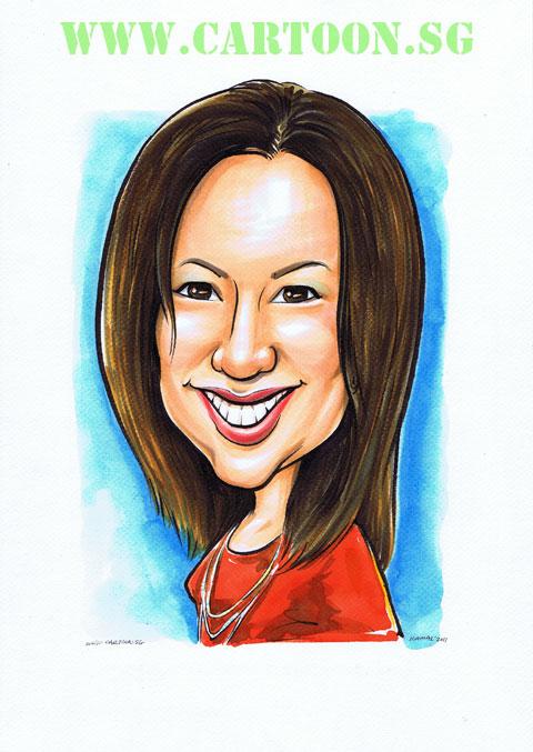 Caricature mugshot of lady