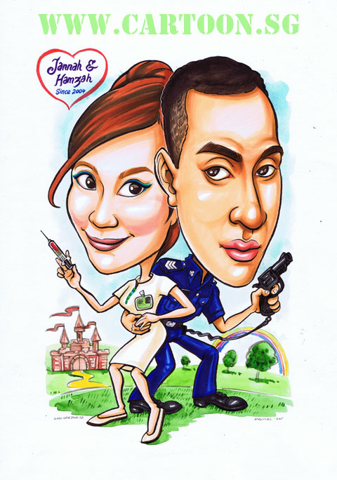 Nurse and policeman couple in fairytale land