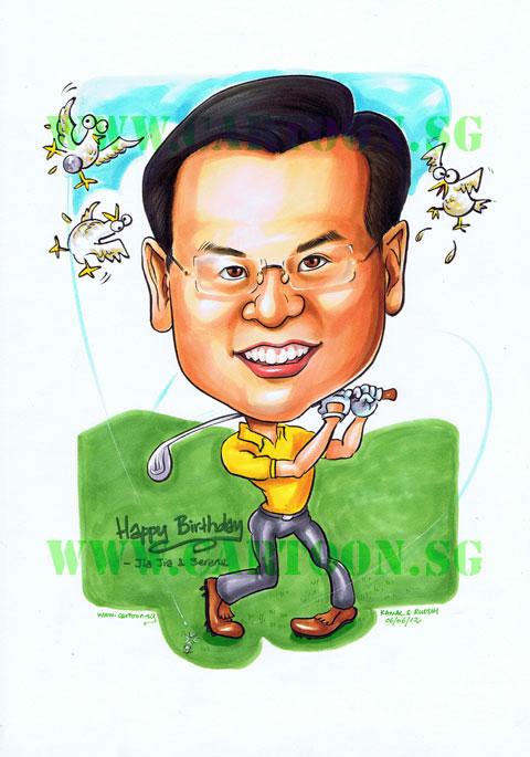 Caricature Birthday Gift Boss Golf club