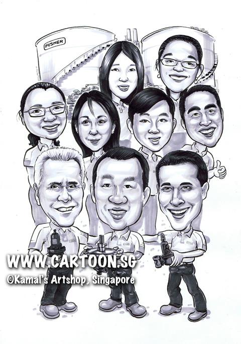 singapore caricature cartoon art drawing fun picture image sketch group team black white nine people