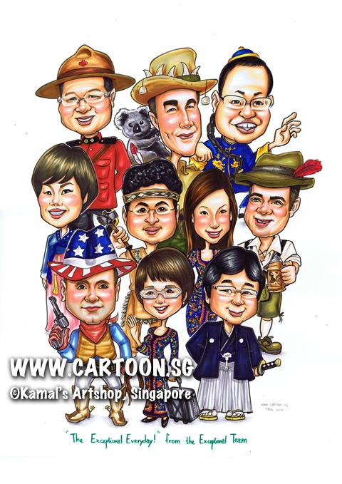 singapore caricature cartoon art drawing fun picture image sketch colour group farewell boss friends japan cowboy america indiana axe traditional costumes different uniforms uniform australia korea