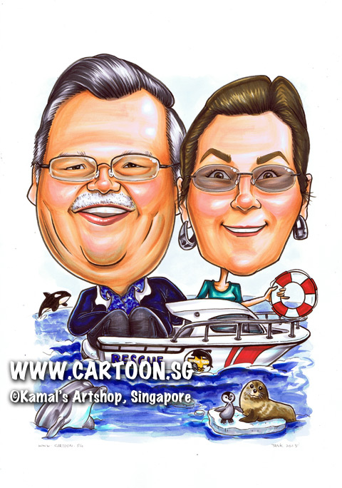 singapore caricature cartoon art drawing fun picture image sketch colour marine life boat killer whale dolphin sea lion penguin red white ocean sea couple man woman lady