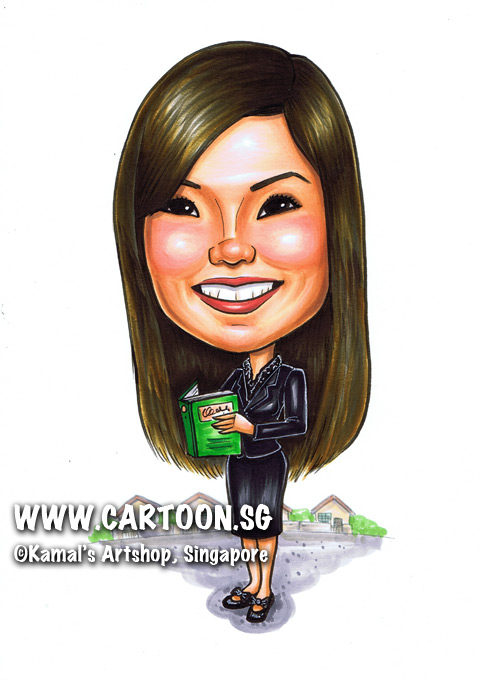 singapore caricature cartoon art drawing fun picture image sketch colour man business suit red striped tie stall packet food plastic smiling happy stalls yellow bag foodstall foodstalls row rows container containers