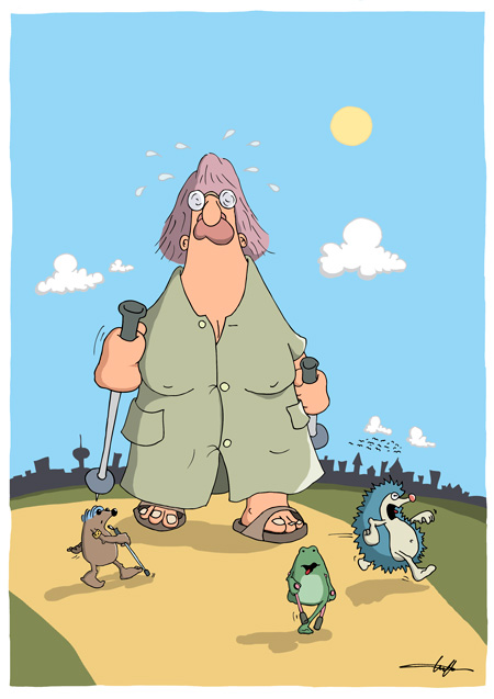 Thomas Luft, Cartoon, Lustig, Walking