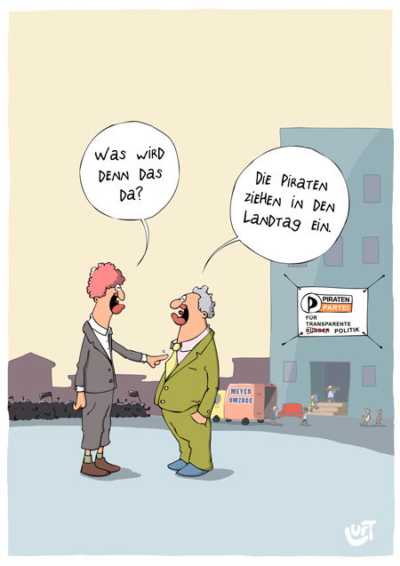 Thomas Luft, Cartoon, Lustig, Einzug
