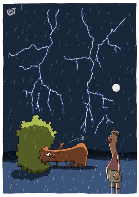 Thomas Luft, Cartoon, Lustig, Gewitter