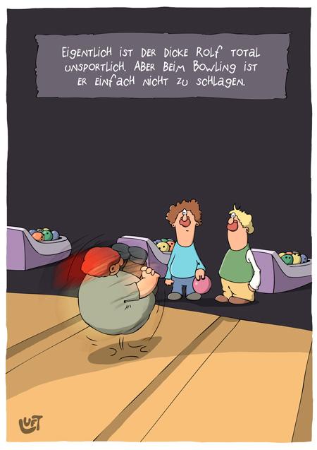 Thomas Luft, Cartoon, Lustig, Bowling