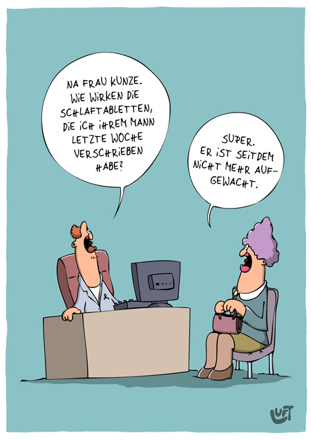 Thomas Luft, Cartoon, Lustig, Schlaftabletten