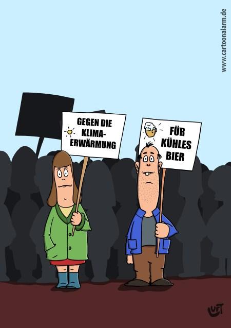 Cartoon von Thomas Luft zum Thema Streik, Bier, Klimawandel