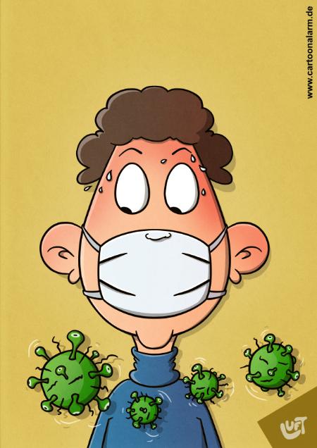 Der Cartoon von Thomas Luft zeigt einen Mann mit Atemmasek. Davor schwirren Corinna-Viren.