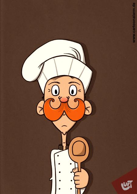Karikatur eines Kochs von Thomas Luft