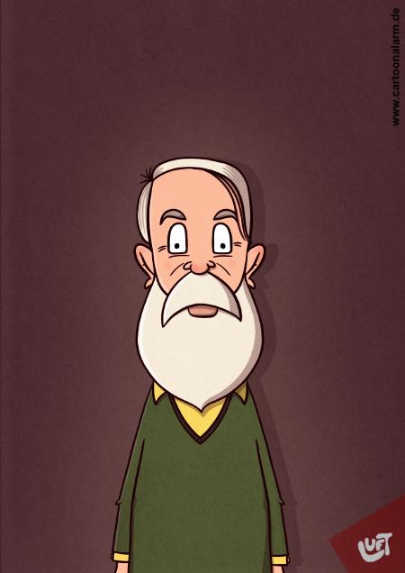 Karikatur eines alten Mannes mit weißem Vollbart, gezeichnet von Thomas Luft