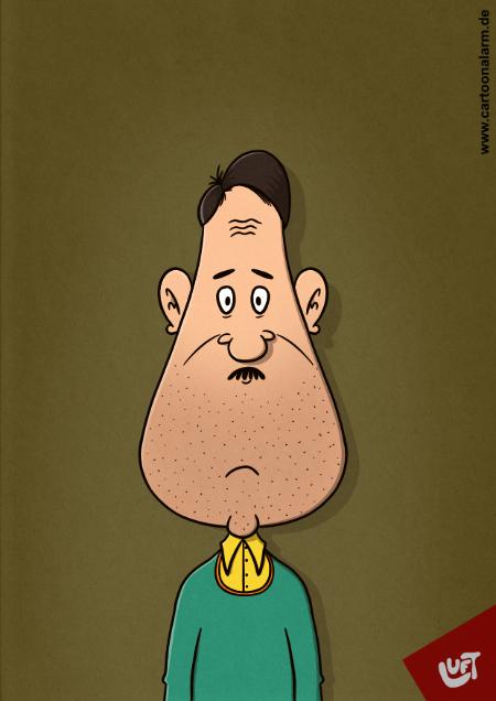 Die Karikatur von Thomas Thomas Luft zeigt einen Mann mit kleinem Schnauzbart.