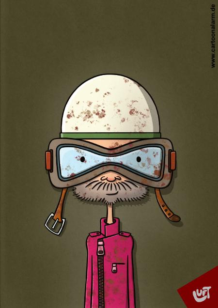 Lustige Karikatur eines Bikers gezeichnet von Thomas Luft