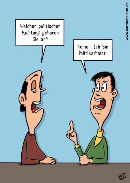 Cartoon von Thomas Luft zum Thema Politikrichtung