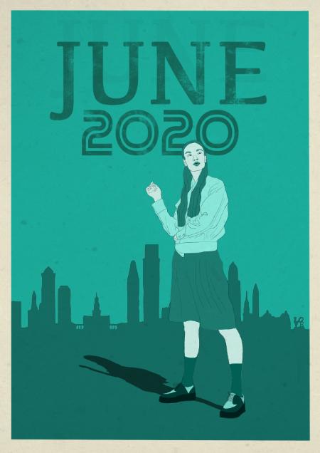 IDie Illustration von Thomas Luft zeigt eine Frau vor einer Skyline.